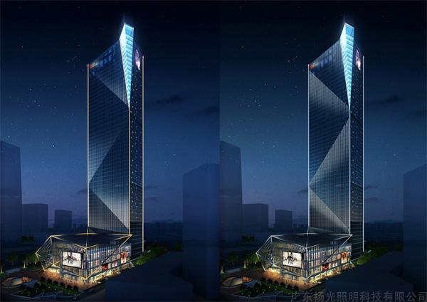 本项目位于东莞市东城区东莞大道边(环球经贸中心隔离)项目用地222252平方米,地下4层,地上部分包括一栋超高层塔楼及4层商业裙房,其中办公塔楼一栋高为250米。 项目功能:商务办公、餐饮、配套商业等 设计范围:建筑室外夜景照明设计,所有建筑外立面的照明设计,外立面店招、广告位的照明设计,写字楼外立面照明设计,裙房的外立面照明设计,室外步行街的外立面照明设计屋面景观照明设计,各雨篷、挑檐照明设计。 效果展示: 半鸟瞰角度夜景照明效果颜色变化模式  裙楼局部透视角度夜景照明效果